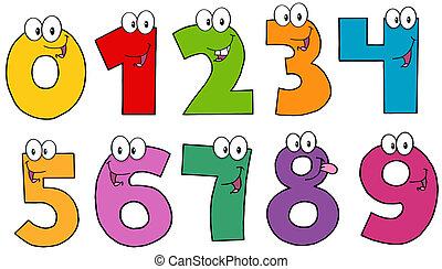 cartone animato, numeri, caratteri, mascotte