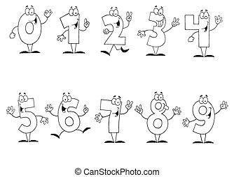 cartone animato, numeri, set, delineato
