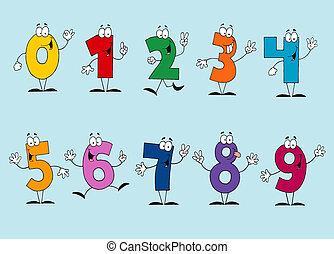 cartone animato, numeri, set, divertente