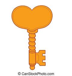 cartone animato, oggetto, illustrazione, cuore, fondo, isolato, bianco, modellato, chiave, vettore, testa