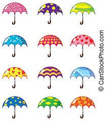 cartone animato, ombrelli, icona