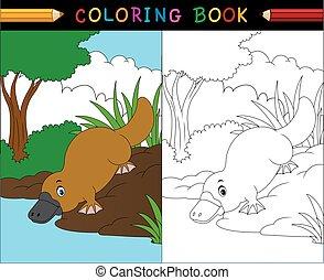 cartone animato, ornitorinco, libro colorante, australiano, animali, serie