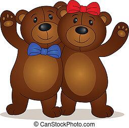 cartone animato, orso, bambola
