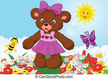 cartone animato, orso, felice