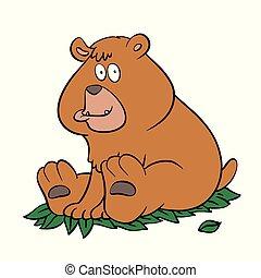 cartone animato, orso, seduta, marrone