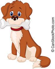 cartone animato, osso, cane
