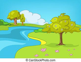 cartone animato, paesaggio, natura