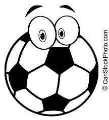 cartone animato, palla, calcio, delineato