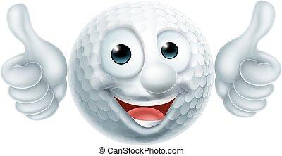 cartone animato, palla golf, carattere