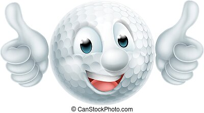 cartone animato, palla golf, uomo