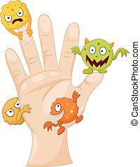 cartone animato, palma, sporco, germi