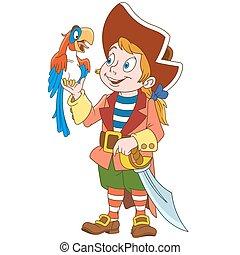 cartone animato, pappagallo, pirata