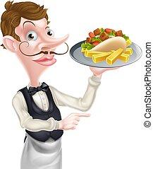 cartone animato, patatine fritte, kebab, indicare, cameriere