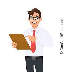 cartone animato, persona, felice, occhiali, file, appunti tiene, checklist., giovane, occhio, cartella, finger., documento, indicare, vector., carattere, mano., affari illustrazione, trendy, uomo, portante, maschio, custodia