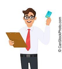 cartone animato, persona, o, occhiali, appunti tiene, checklist., giovane, occhio, cartella, documento, card., file., esposizione, credito, vector., carattere, atm, affari illustrazione, addebito, uomo, portante, maschio, custodia