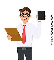 cartone animato, persona, occhiali, computer, file, appunti tiene, checklist., giovane, occhio, folder., documento, esposizione, vector., carattere, tavoletta, illustrazione, screen., affari, trendy, uomo, portante, maschio, custodia