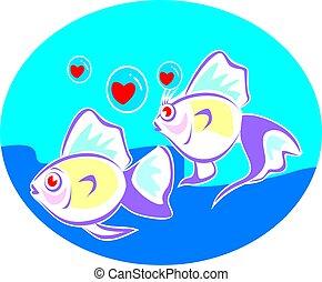 Illustrazione preso insieme appeso pesci illustrazioni for Sfondo animato pesci