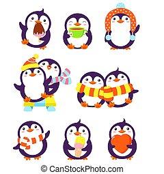 cartone animato, pinguini, carino, pose, differente, set