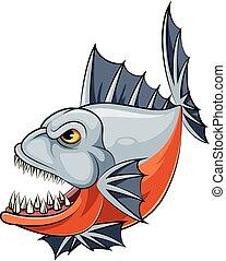 cartone animato, piranha, fish