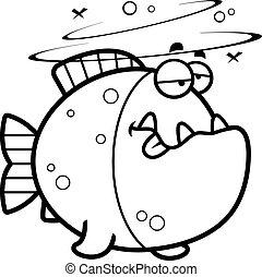 cartone animato, piranha, ubriaco