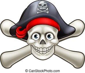 cartone animato, pirata, crossbones cranio