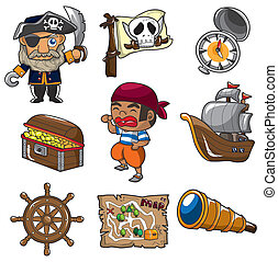 cartone animato, pirata, icona