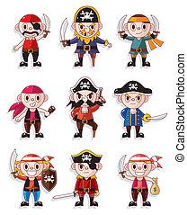 cartone animato, pirata, icona, set