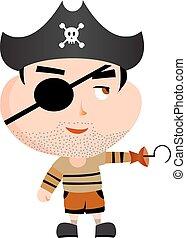 cartone animato, pirata, vettore