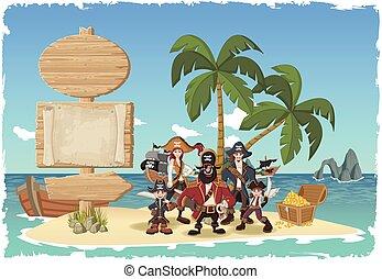 cartone animato, pirates.