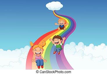 cartone animato, poco, bambini, gioco, diapositiva, r
