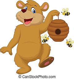 cartone animato, presa a terra, orso, ape