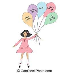 cartone animato, presa a terra, palloni, ragazza, slogans.eps, positivo