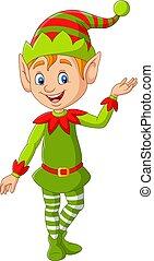cartone animato, presentare, carino, natale, elfo