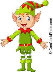 cartone animato, presentare, natale felice, elfo