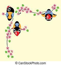 cartone animato, primavera, uccelli