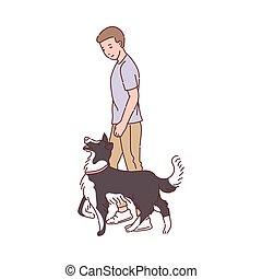 cartone animato, proprietario, prossimo, camminare, cane, isolated., schizzo, illustrazione, vettore, addestrato