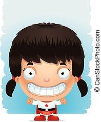 cartone animato, ragazza, superhero, sorridente