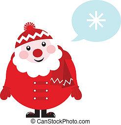 cartone animato, retro, santa, pensare, circa, inverno, -, isolato, bianco