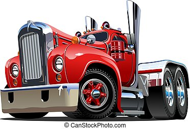 cartone animato, retro, semi camion
