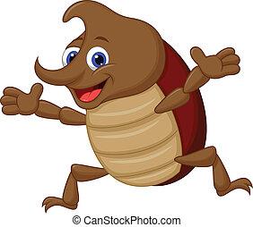cartone animato, rinoceronte, carino, scarabeo