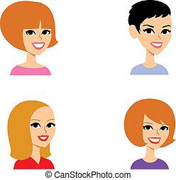 cartone animato, ritratto, avatar, set