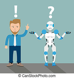 cartone animato, robot, uomo affari, comunicazione, problema