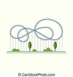 cartone animato, rollercoaster, blu, annodare, pista, rotaia, vuoto
