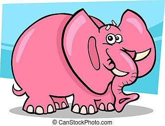 cartone animato, rosa, elefante
