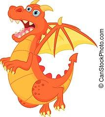 cartone animato, rosso, drago