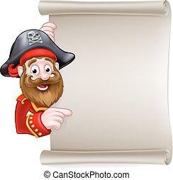 cartone animato, rotolo, pirata, indicare, segno