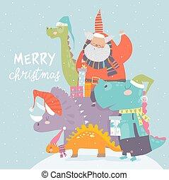 cartone animato, santa, seduta, regali, claus, dinosauro