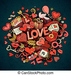 cartone animato, scarabocchiare, disegnato, vettore, illustrazione, amore, mano