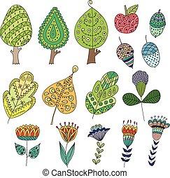 cartone animato, scarabocchiare, frutte, albero, leaves., set, fiori