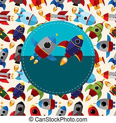 cartone animato, scheda, astronave